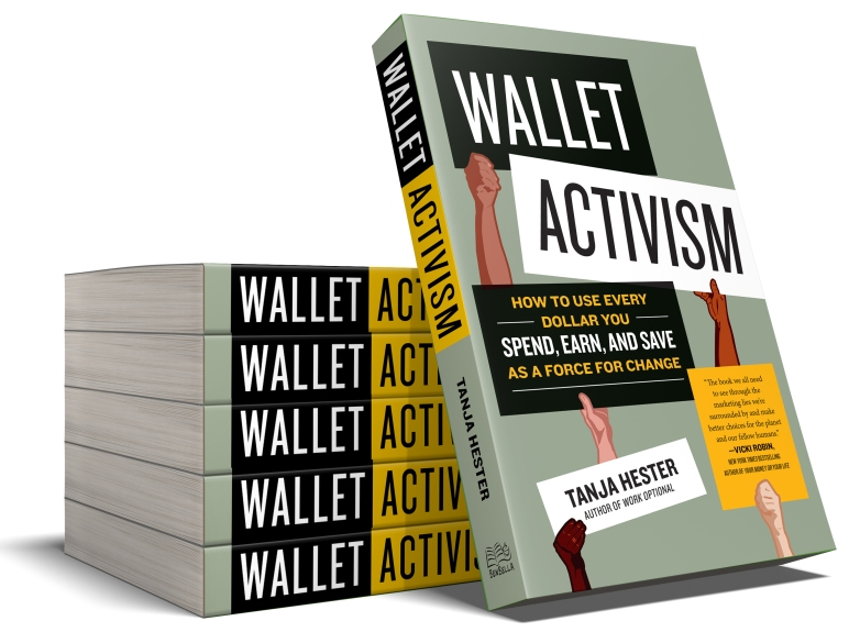 Wallet Activism by Tanja Hester, shown as a stack of books